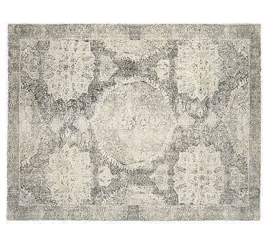 Gray Barret Printed Rug For Living Room Design On Wool Cut Pile