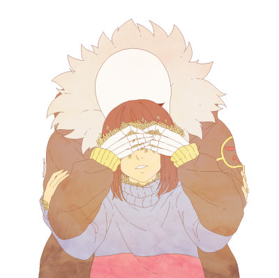 Frisk and Sans ||| Undertale - Underfell / Flowerfell AU - Overgrowth Fan Art by heathazehero on Tumblr [Overgrowth by Sociopathic Archangel on AO3: https://archiveofourown.org/works/5734642 ]