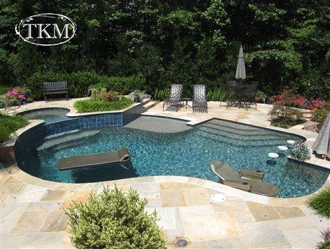 Pool with Copper Bay Flagstone deck Pool kings, Custom