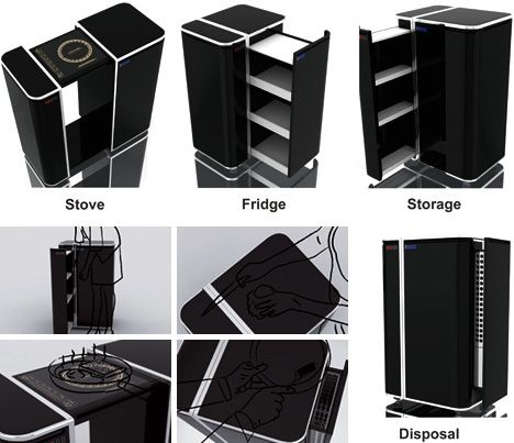 all in one mini kitchen  movable furniture  Pinterest  Box