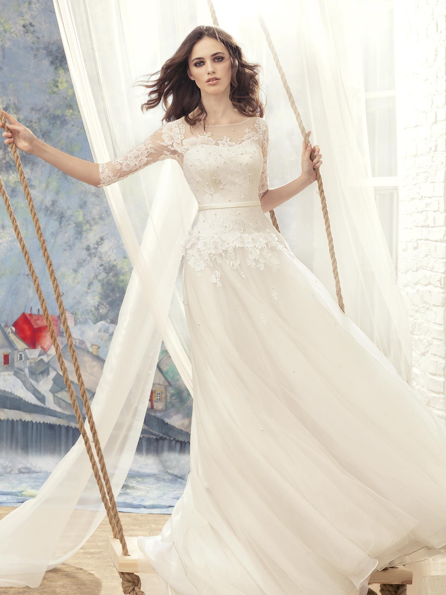 Papilio aline wedding dress with lace sleeves pinterest