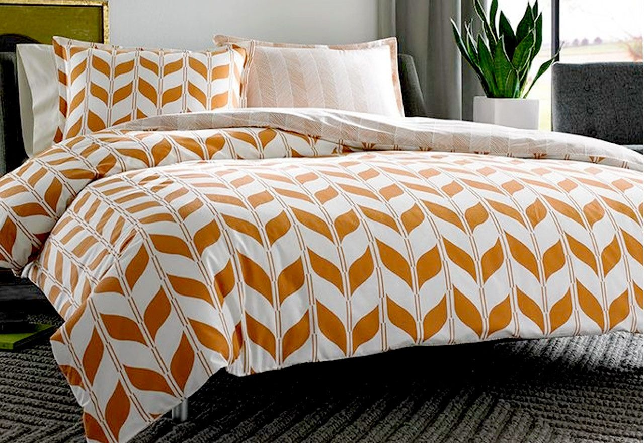 print of mid century modern bedding set