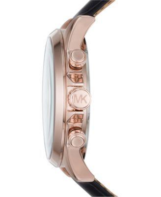 11f65364c4ec Michael Kors Men s Chronograph Gage Black Leather Strap Watch 45mm MK8535 -  Gold