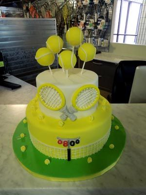 Brilliant Tennis Ball With Racquets 80Th Birthday Cake With Images Personalised Birthday Cards Veneteletsinfo