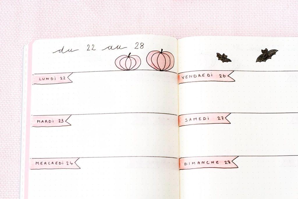 Bullet Journal Octobre : Idée de mise en page - Manayin - Bullet journal #bulletjournaloctobre