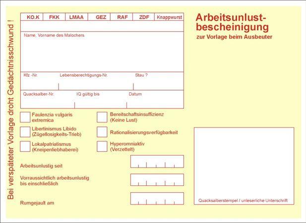 Arbeitsunlustbescheinigung | Deutsch, Gästebuch bilder und Gästebuch