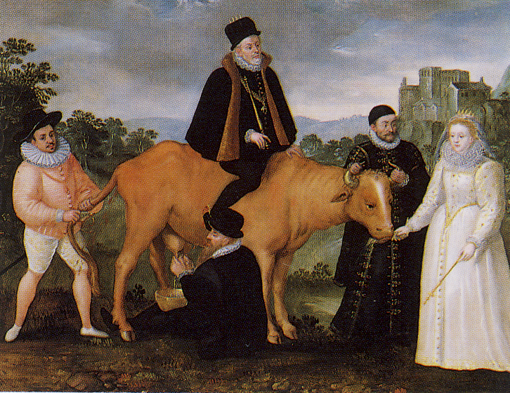 Circa 1586, Queen Elizabeth I. Feeds the Dutch Cow--EXCERPT: 'Satirical painting depicts a cow which represents the Dutch provinces. King Philip II. of Spain is vainly trying to ride the cow, drawing blood with his spurs. Queen Elizabeth is feeding it while William of Orange holds it steady by the horns. The cow is defecating on the Duke of Anjou, who is holding its tail. Anjou's  mission to the Netherlands met with disaster when his army was massacred by the citizens of Antwerp in early…