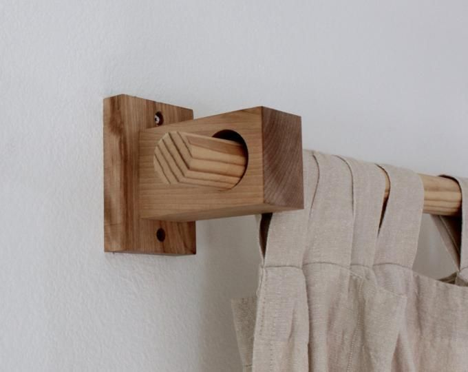 Photo of curtain rod holder, curtain rod bracket, modern wood, curtain holder