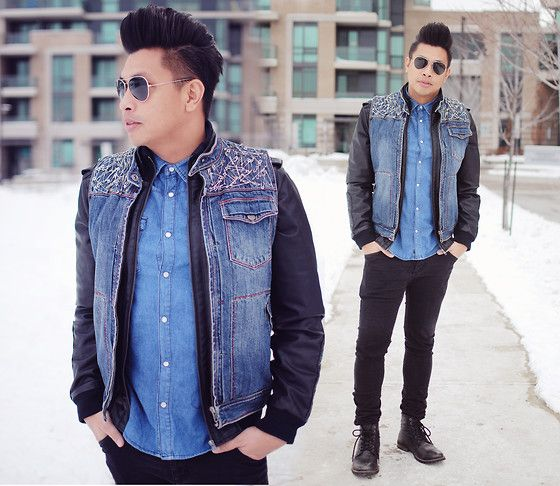 Leather Jacket With Denim Vest - JacketIn