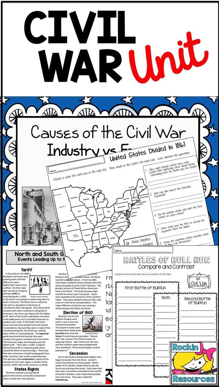 Civil War Unit The Civil War Distance Learning Google Civil War Unit Social Studies Worksheets Civil War Lessons