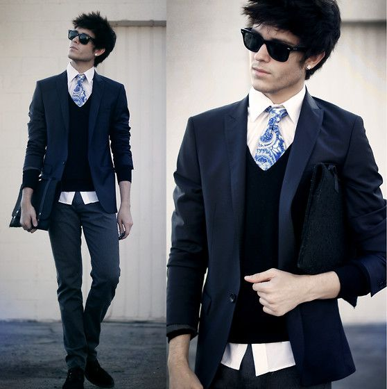 V Neck Suit And Tie