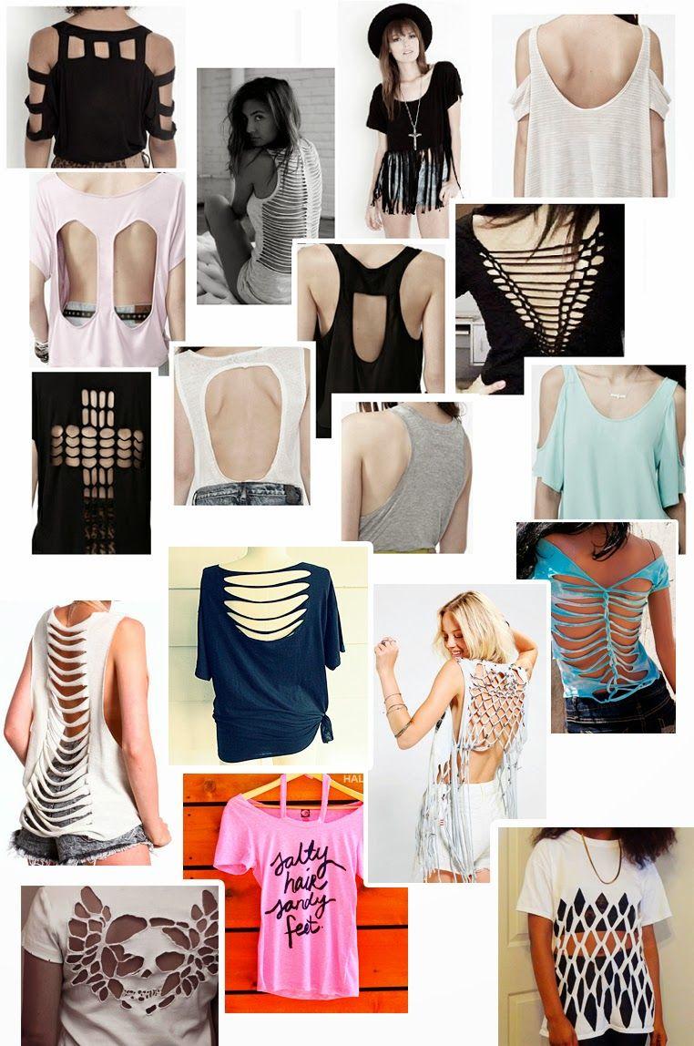 Diferentes tipos de corte para customizar Camisetas  114a8d4921344