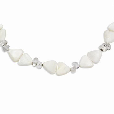 Sterling Silver 16 Inch White Mother of Pearl & Rock Quartz Necklace