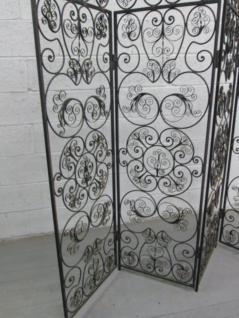 230 Italian Wrought Iron 4 Panel Screen Room Divider on Design