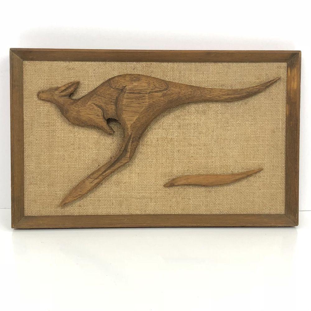 Kangaroo teak wood wall art vintage mid century modern d australia