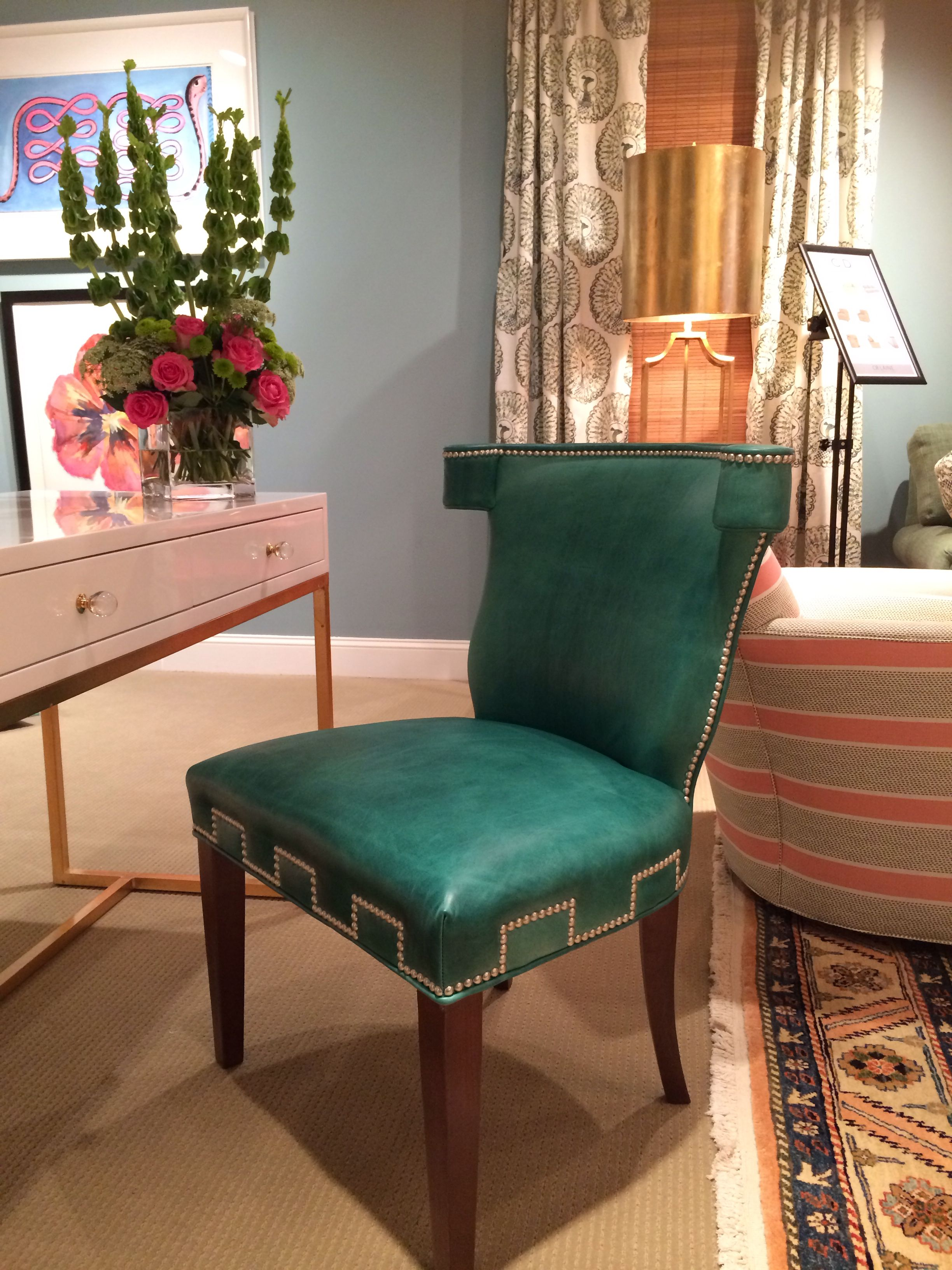 Cr laine sweeney chair in emerald green leather with