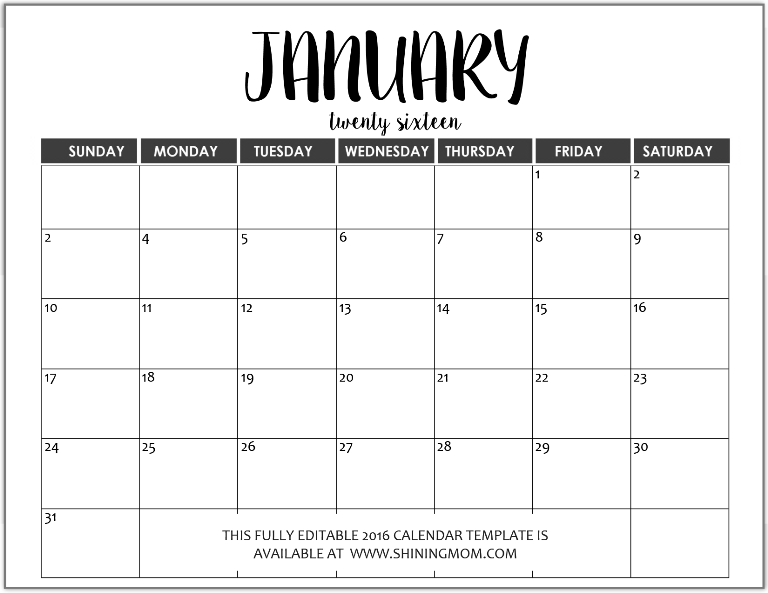 Just In: Fully Editable 2016 Calendar Templates in MS Word Format ...