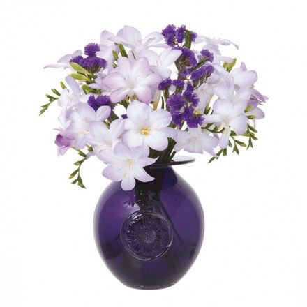 Anemone Amethyst Flower Globe Vase Dartington Crystal Hand Blown Vases Floral Vase Dartington