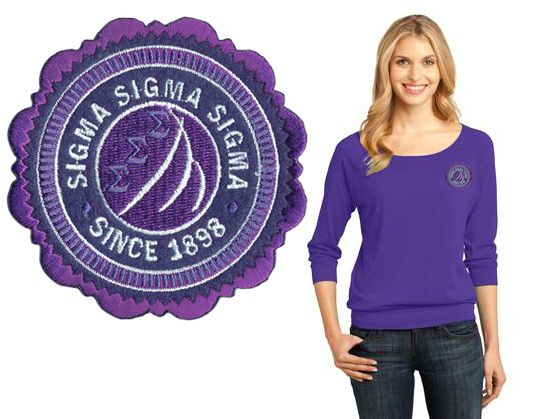 Sigma Sigma Sigma Patch Seal Ladies Modal Blend 3/4-Sleeve Raglan