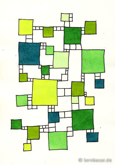 Quadrate Mit Leitern Schule Kunst Kunst