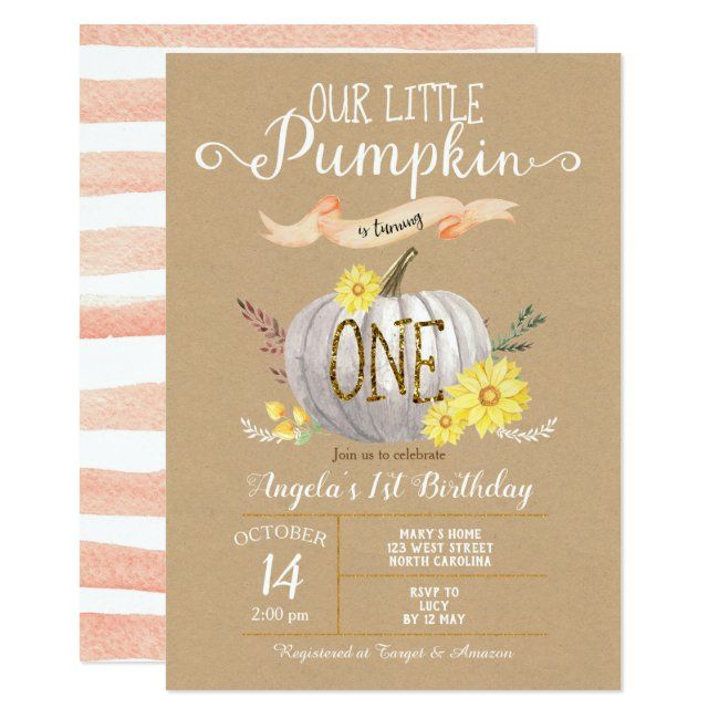 Pink Pumpkin Autumn First 1st Birthday Invitation | Zazzle.com