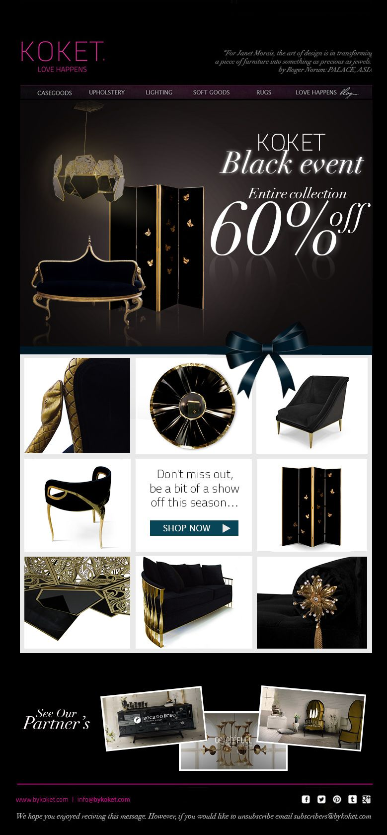 Luxury Furniture By Koket Newsletter Graphic Design