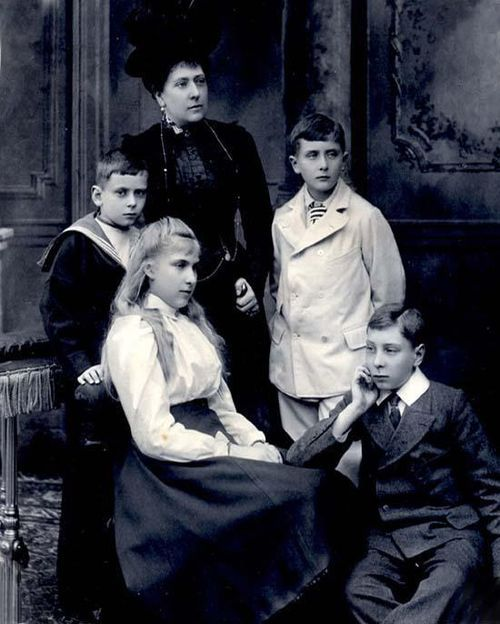 The Princess Beatrice, youngest daughter of Queen Victoria with her children Prince Alexander, Princess Victoria Eugenie (later The Queen of Spain), Prince Leopold, and Prince Maurice of Battenberg.