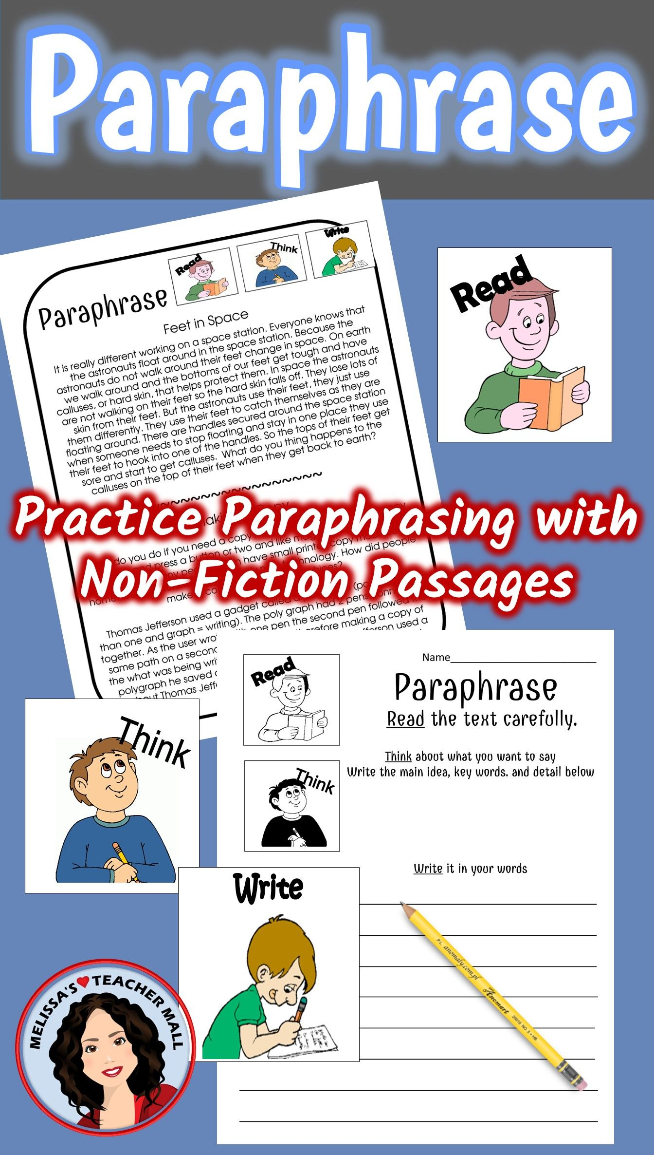 Thi I A Versatile Paraphrasing Activity That Can Be Used Many Way Help Your Student Un Activitie Early Education Teaching Schools Call Center