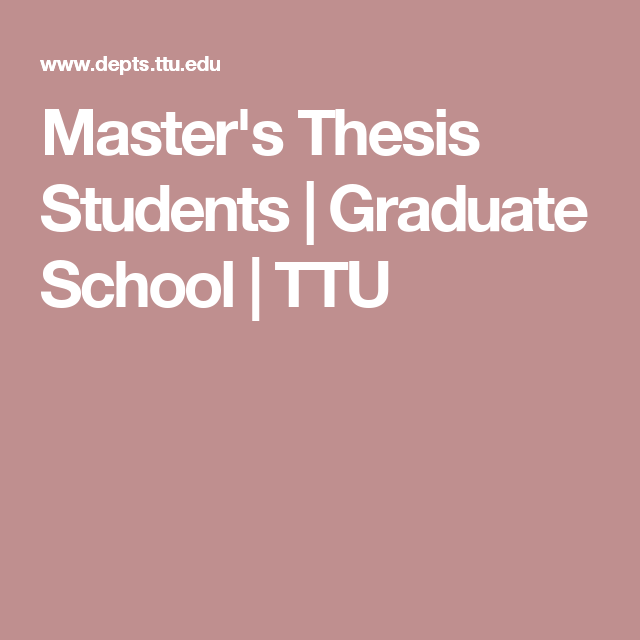 Tex master thesis