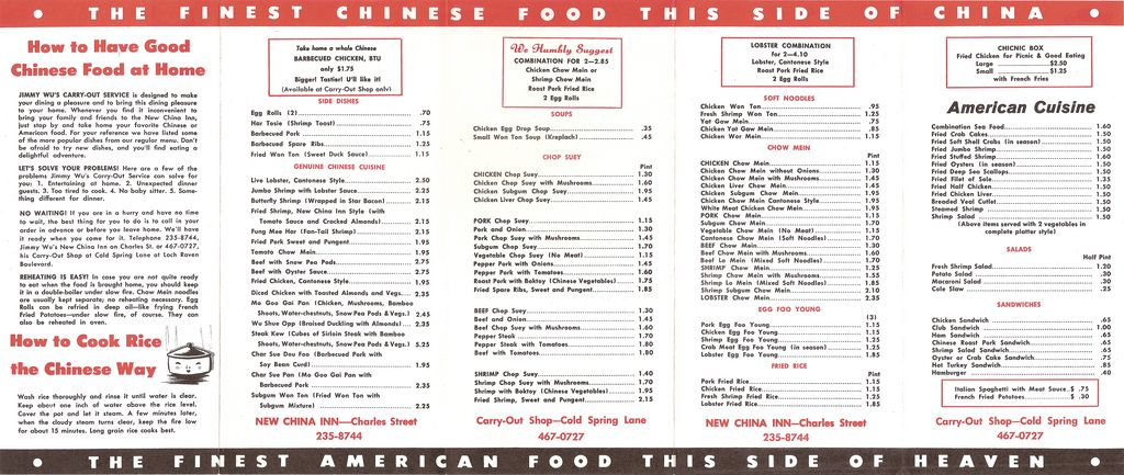 Jimmy Wu S New China Inn Menu Back New China American Cuisine China
