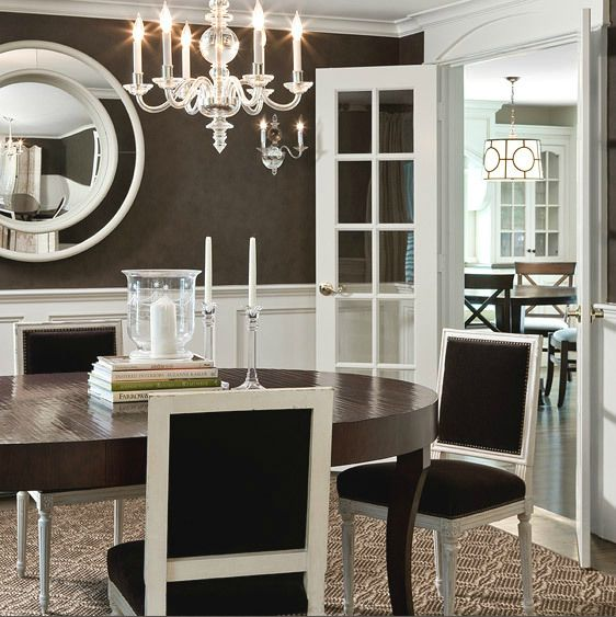 Wonderful White U0026 Chocolate Brown Dining Room Design With Wainscoting, Brown  Wallpaper, Round Mirror, Part 3