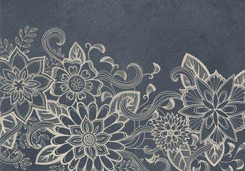 hand drawn flower design sketch in white ink on black background elegant vintage style fancy floral doodle pattern