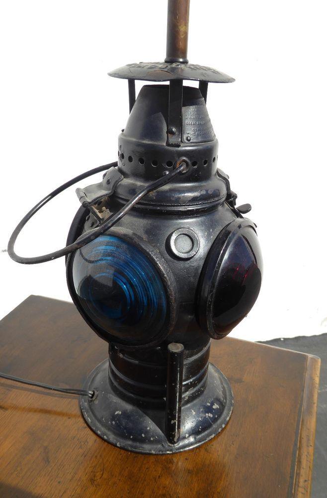 Vintage Railroad Switch Train Caboose Lantern Table Lamp
