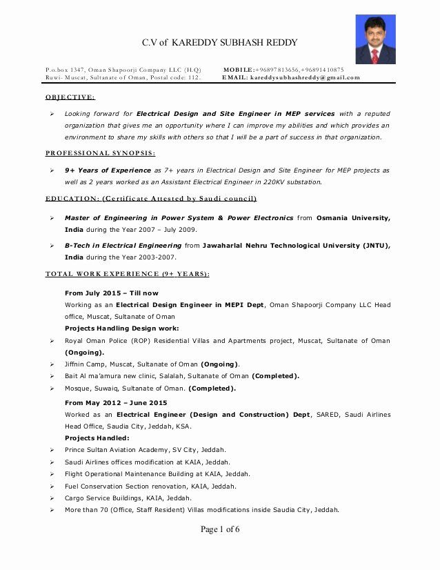 Electrical Engineer Resume Sample Awesome Resume Electrical Engineer Mep 9 Years Exp In 2020 Engineering Resume Engineering Resume Templates Resume Template