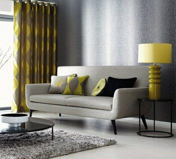 living room decor ideas gray shaggy rug mustard green accents lamp curtains gray sofa