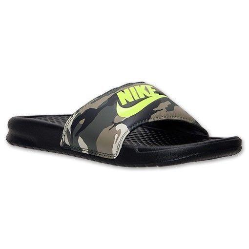 e92f7015a Men s Nike Benassi JDI Print Slide Sandals Camo Black Volt Dark Mica Green  NWT  Nike  Slides
