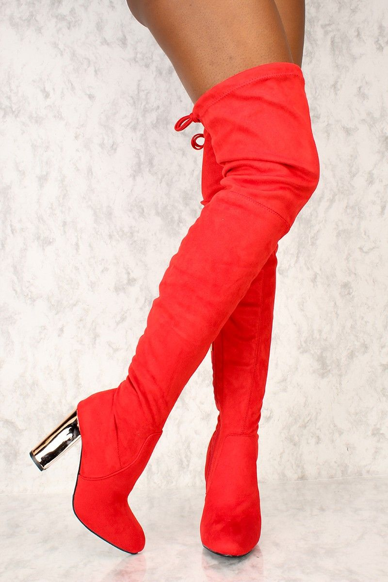 3e0d069b125c Sexy Red Slim Pointy Toe Thigh High Boots Metallic Chunky Heel Faux Suede