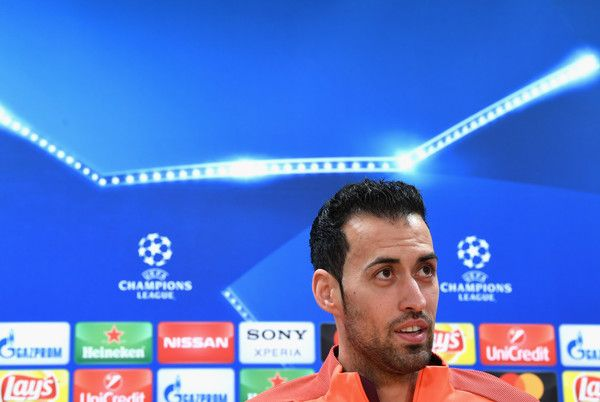 Sergio Busquets of Barcelona speaks during a Barcelona press conference ahead of their UEFA Champions League Round of 16 match against Chelsea at Nou Camp on March 13, 2018 in Barcelona.