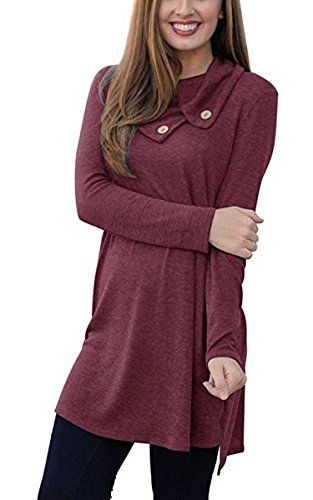 d1134982d4c ECOWISH Womens Lapel Polo Neck Long Sleeve Loose Dress Sides Slit Shirt  Tunic Dress   Want to know more