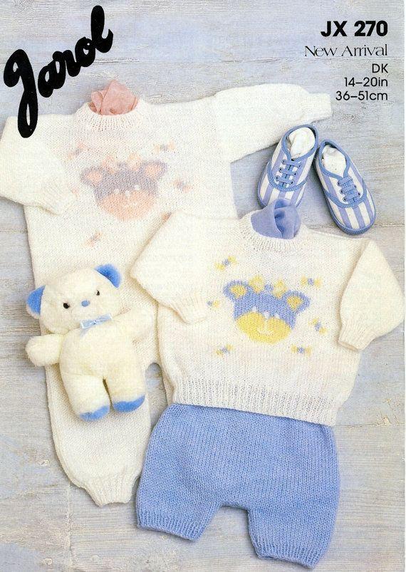 a69006811 Baby Knitting Pattern ~ Jarol JX 270 Teddy Bear Motif. All-In-One + ...