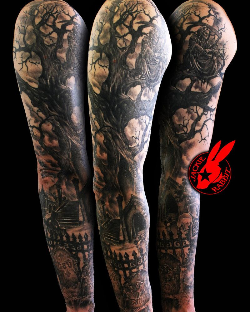 reaper tree graveyard sleeve by jackie rabbit by jackierabbit12 my potential tattoos. Black Bedroom Furniture Sets. Home Design Ideas