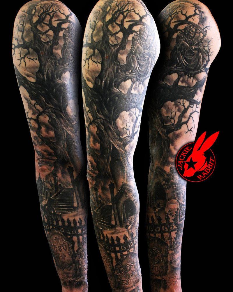 Cemetery and graveyard tattoo on half sleeve - Reaper Tree Graveyard Sleeve By Jackie Rabbit By Jackierabbit12
