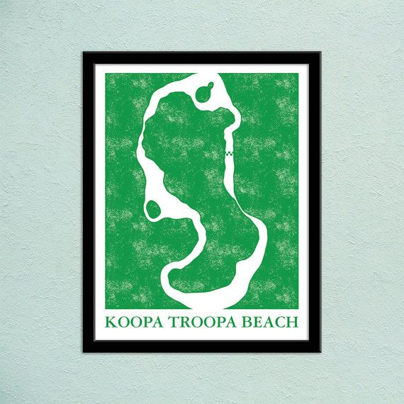 Mario kart 64 koopa troopa beach track map poster super mario kart mario kart 64 koopa troopa beach track map by pidesignprints gumiabroncs Image collections