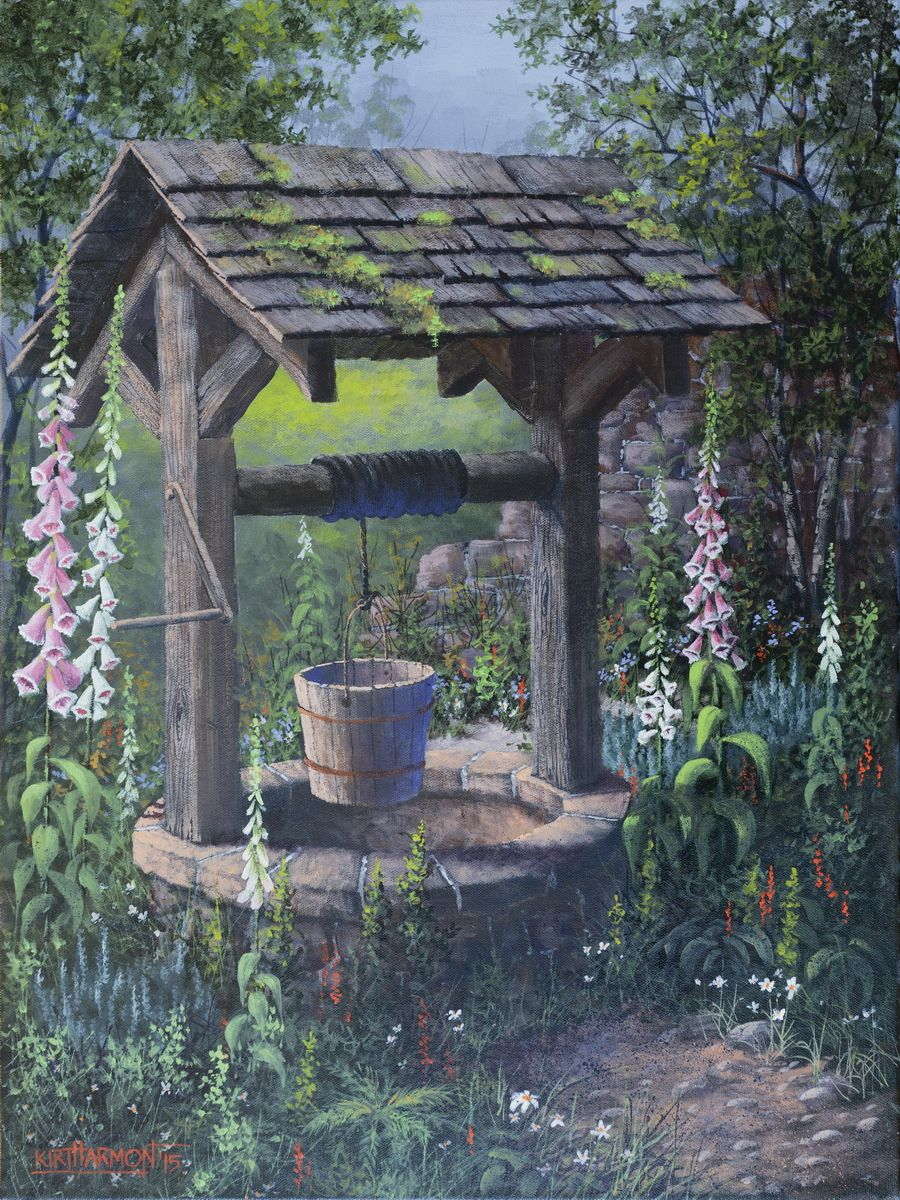 Garden designs with bridges and wishing wells landscaping ideas - My Art Students Wanted To Paint This Scene Of A Wishing Well Within A Lush Garden Setting