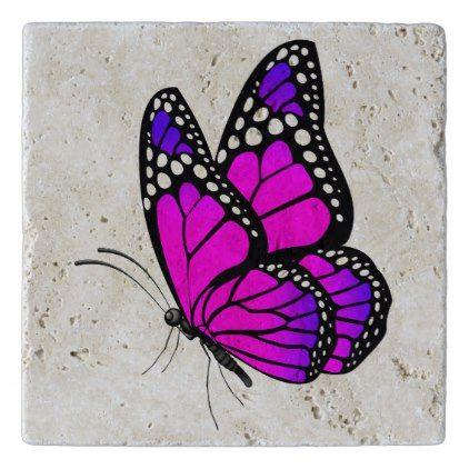 Vibrant pink butterfly trivet | Zazzle.com