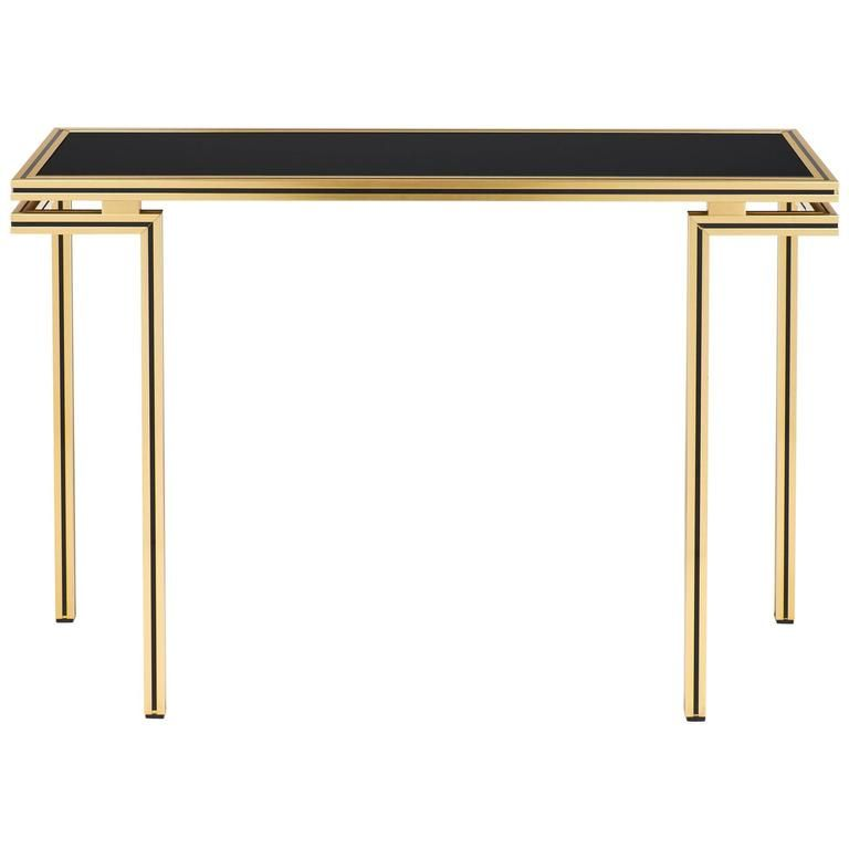 Vintage Black Glass Top Brass Console Table by Pierre Vandel Black