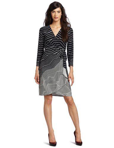 BCBGMAXAZRIA Women's Adele Wrap Dress    This dress features allover digital horizon stripe print  $178.00
