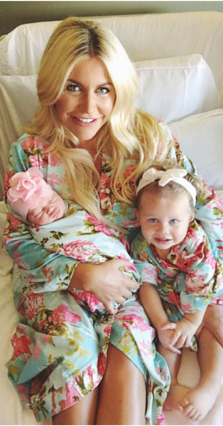 5441256e23b8a Matching Mommy, baby and baby sister robes and swaddles for labor and  delivery! How stinkin' cute! What a great way to ensure BIG sister feels  part of the ...