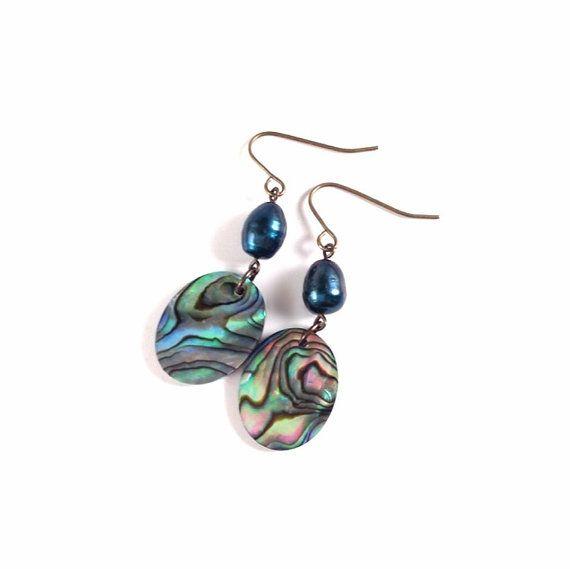 Paua Shell & Pearl Earrings Abalone Shell by ModernDayMiracles, $25.50