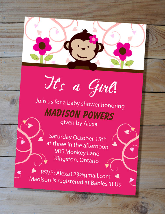 Monkey baby shower invitation choose your colours diy printable monkey baby shower invitation choose your colours diy printable invitation filmwisefo
